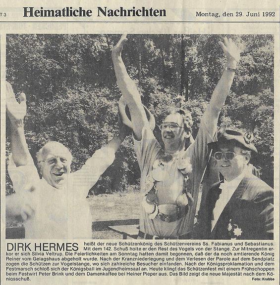 Zeitungsausschnitt von dem Tageblatt Ochtrup vom Montag, den 29. Juni 1992