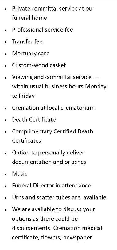 Farewell Cremation price scenario shone