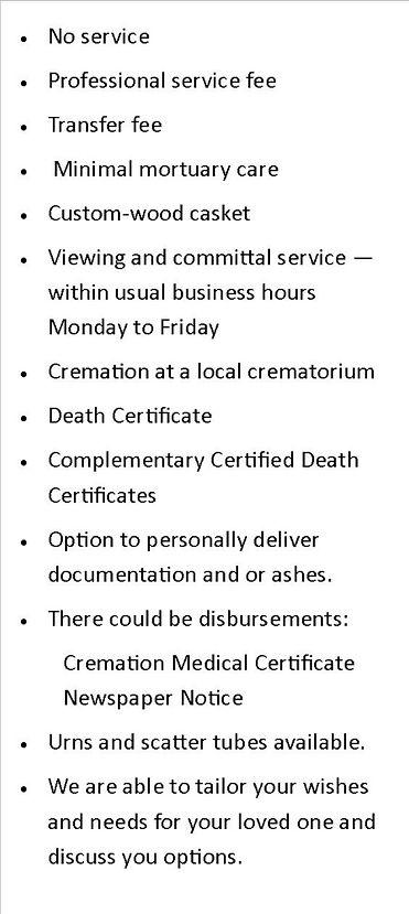 Simple Cremation price scenario shone an