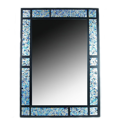 MURANO GLASS MIRROR WITH SILVER  AND LIGHT BLUE MURRINE