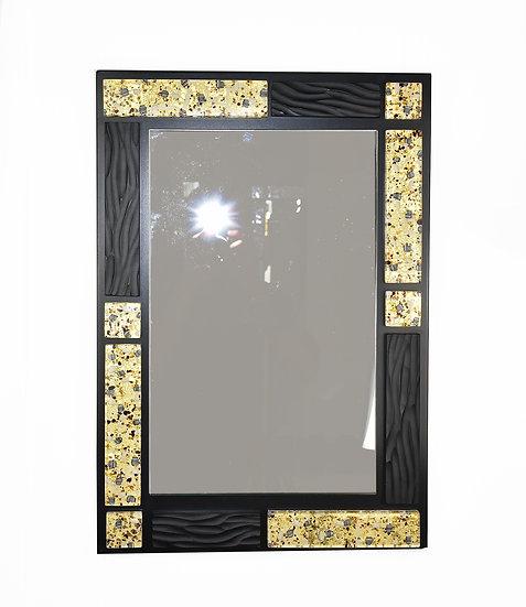 MURANO GLASS MIRROR 58X42 CM IVORY BLACK GOLD