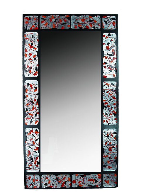 MURANO GLASS MIRROR RED AND BLACK       1120X65 CM.