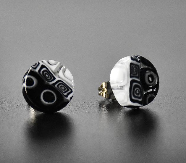 MURANO GLASS EARRINGS ROUND SHAPE B/W MURRINE 12 mm.