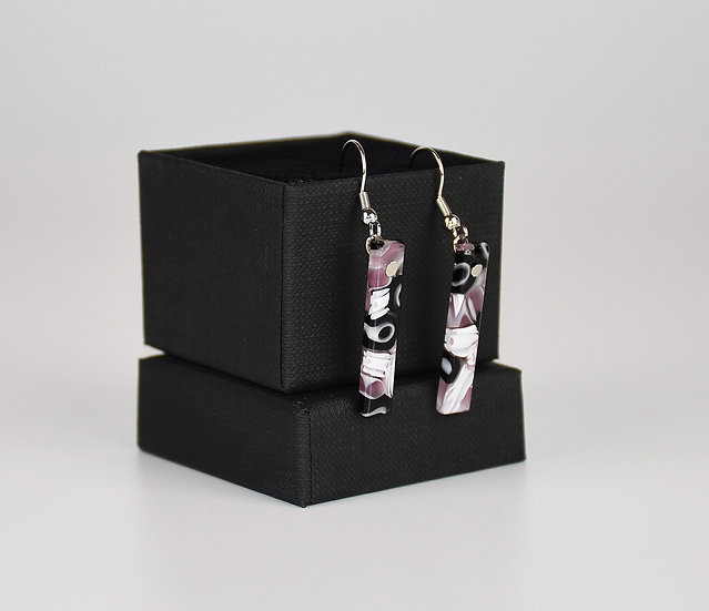 MURANO GLASS EARRINGS, RECTANGULAR SHAPE, PURPLE MURRINA