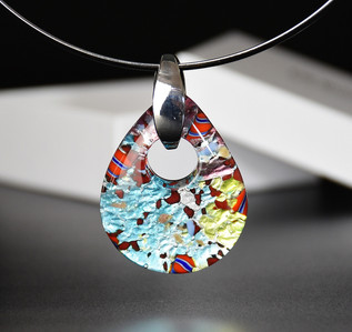 OVAL PENDANT 5*4 CM, SILVER AND MULTICOLOUR GLASS