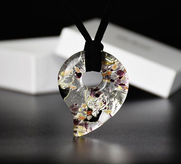 MURANO GLASS PENDANT HOOK SHAPED 5.5 X 4.5 CM
