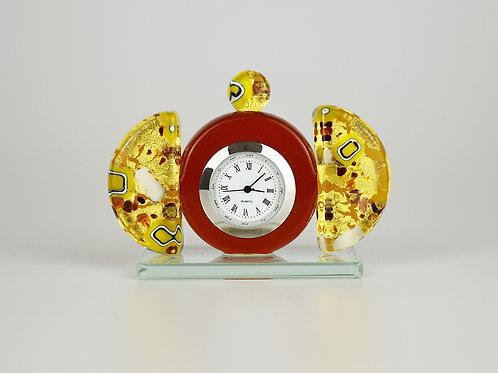 MURANO GLASS  CLOCK GOLD AMBER