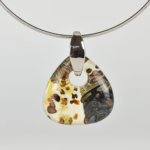 MURANO GLASS PENDANT WITH ROUNDED TRIANGULAR SHAPE  WITH AVORY GLASS  CHALCEDONY