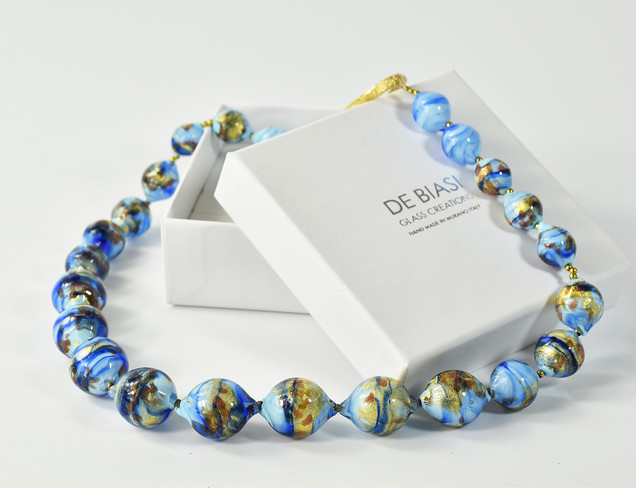 48 CM  NECKLACE MADE WITH OPALIN LIGHT BLUE GLASS AND REAL GOLD FOIL