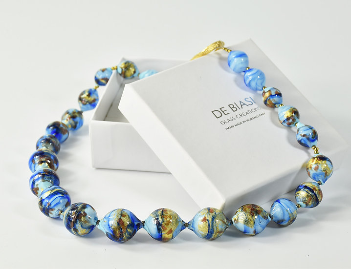 MURANO GLASS NECKLACE OPAILN TURQUOISE AND GOLD