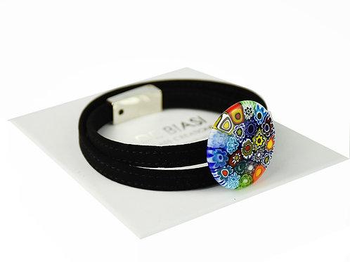 Murano glass  bracelet with multicoloured murrine  and velvet string