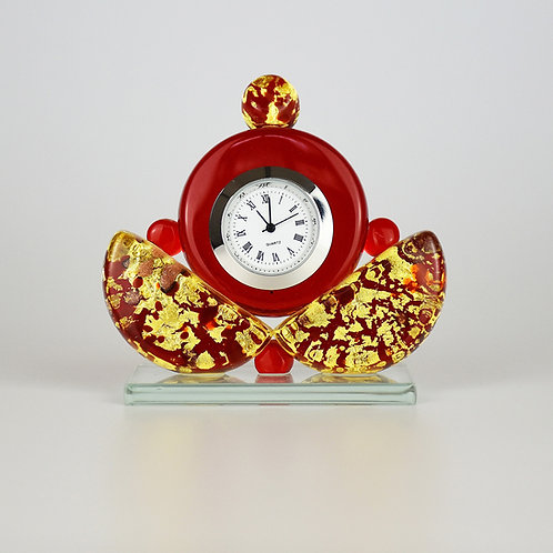 MURANO GLASS  CLOCK GOLD AND RED