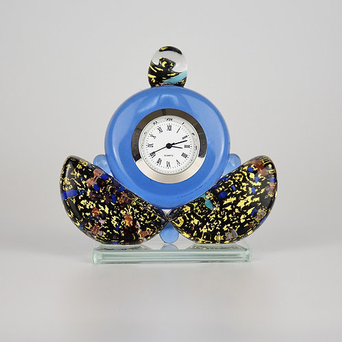 MURANO GLASS CLOCK GOLD TURQUOISE