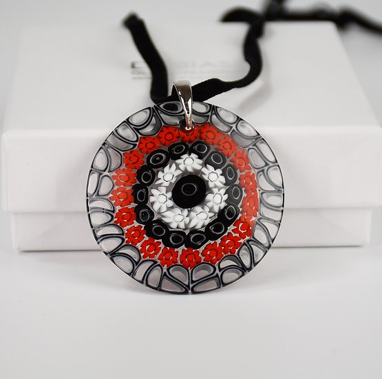 MURANO GLAS PENDANT 5 CM. MURRINE RED AND BLACK