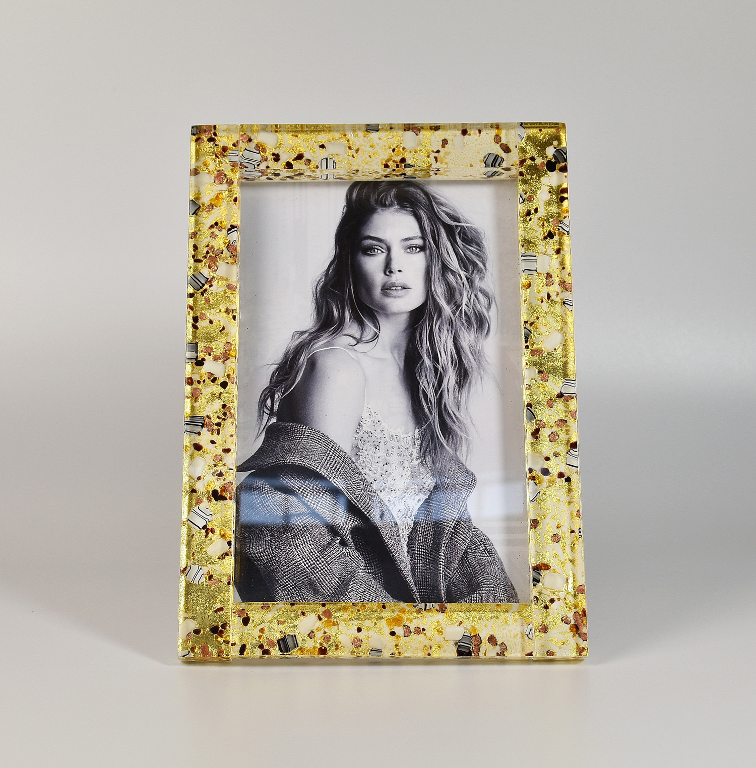 Murano Glass Frame avory and gold