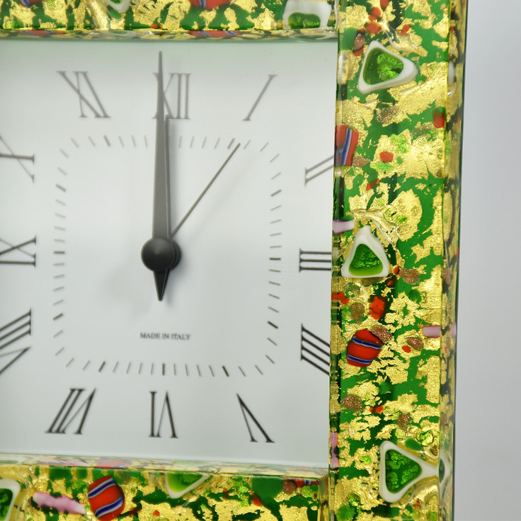 GLASS CLOCK WITH ALARM WITH GREEN GLASS