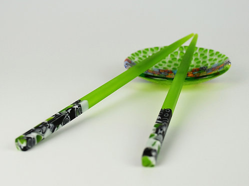 MURANO GLASS CHOPSTICKBLACK AND GREEN