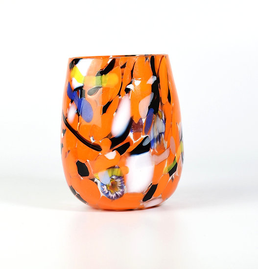 MURANO DRINKING GLASS ORANGE BLACK AND MULTICOLOUR