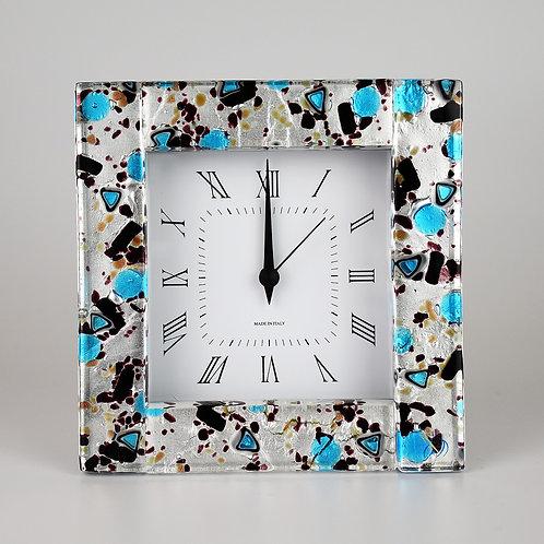 Murano  glass  Clock with alarm,  silver foil light blue