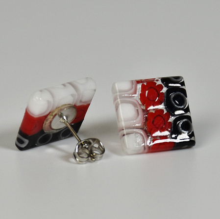 MURANO GLASS EARRINGS WITH BLACK WHITE A