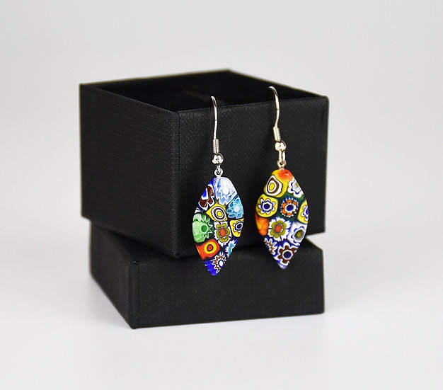 MURANO GLASS EARRINGS LAEF SHAPE, MULTICOLOUR MURRINE