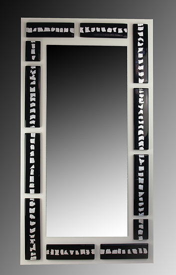 MURANO GLASS MIRROR BLACK AND SILVER FOIL 125X65 CM.