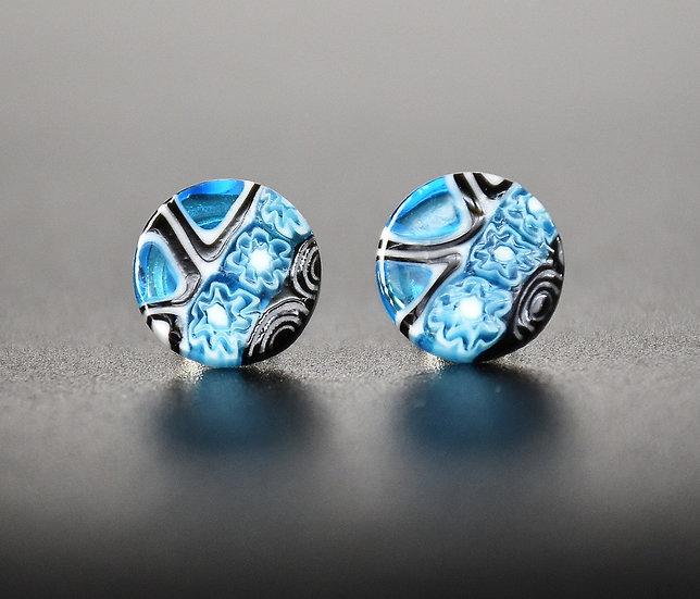 MURANO GLASSS EARRINGS BLUE MURRINEROUND SHAPE, 12mm
