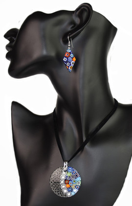 PARURE MADE BY 4 CM ROUND PENDANT AND EARRINGS CM.3, MADE WITH MULTICOLOURED MURRINE