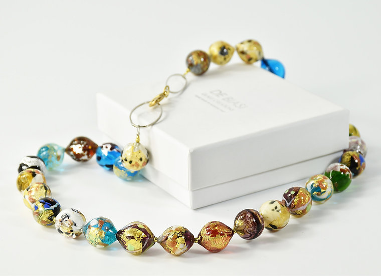 MURANO GLAS NECKLACE MULTI/GOLD OVAL BEADS