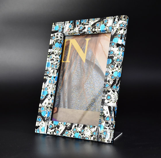 MURANO GLASS PHOTO  FRAME 16x22 BLACK SILVER AND TURQUOISE