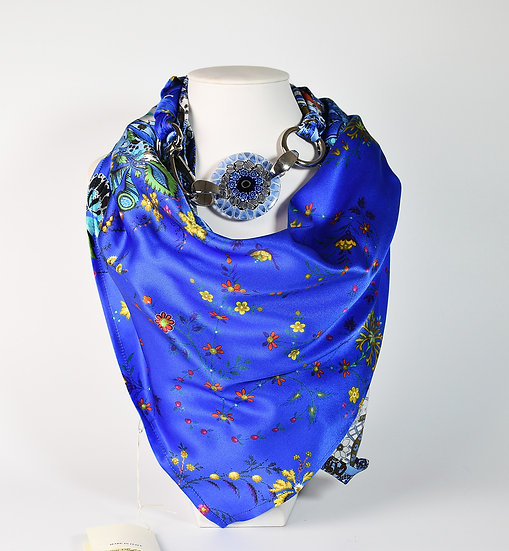 SILK SCARF WITH BLUE PENDANT