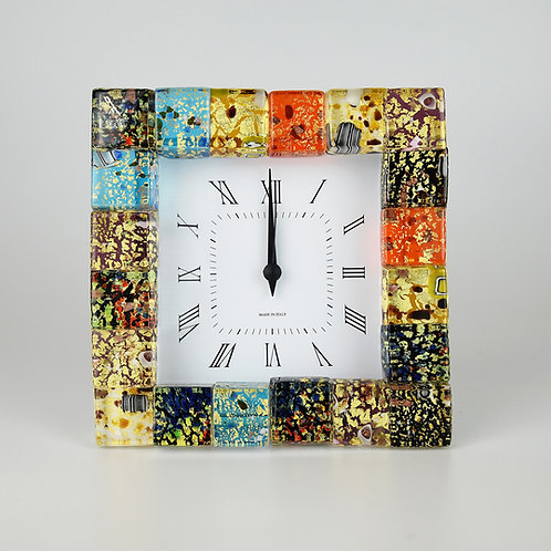 Murano glass  clock with  alarm, made with mosaics