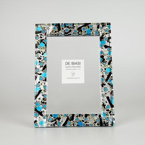 MURANO GLASS  FRAME PORTRAIT,  LIGHT BLUE-BLACK-AND SILVER LEAF