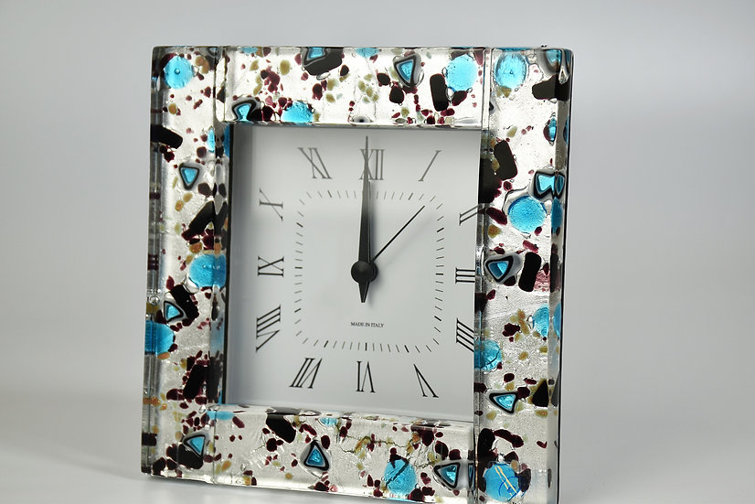 MURANO GLASS ALARM CLOCK WITH SILVER FOIL AND BLACK GLASS