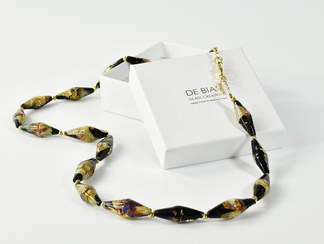 NECKLACE 53 CM  MADE WITH GLASS BEADS WITH GOLD FOIL, CALCHEDONY GLASS , AVVENTURINA