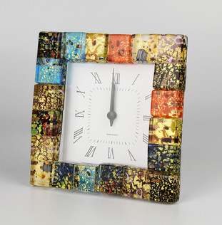 ALARM CLOCK FRAMED BY A MOSAIC MADE GLASS PLATE