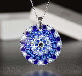 ROUND PENDANT 5 CM, WHITE AND BLUE MURRINE, STERLIN SILVER NECKLACE