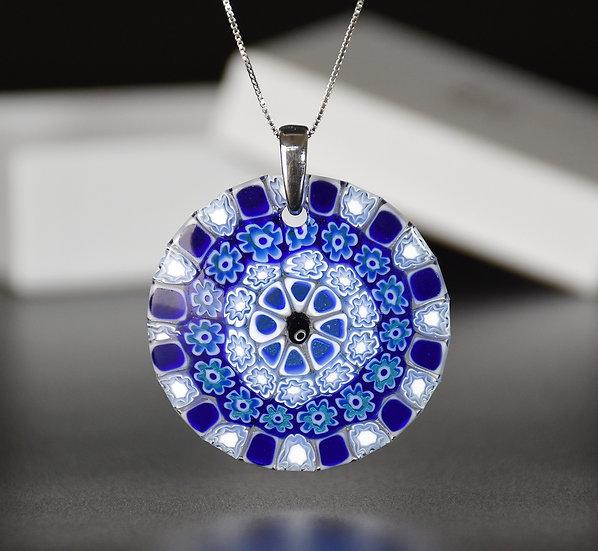 MURANO GLASS PENDANT BLUE AND WHITE MURRINE CM.5