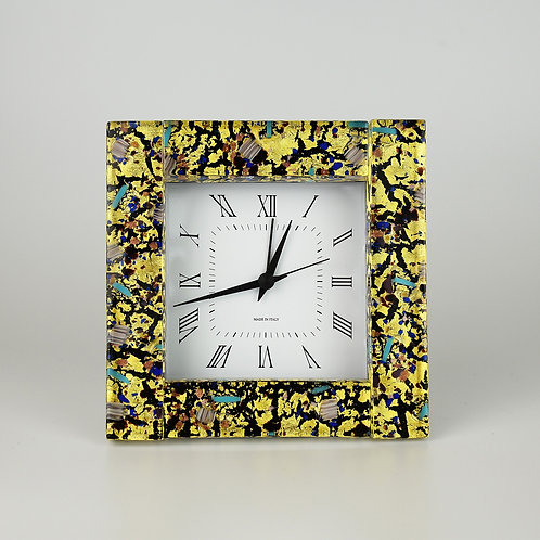 Murano glass  Clocck with alarm, made with  Gold foil and black glass plate