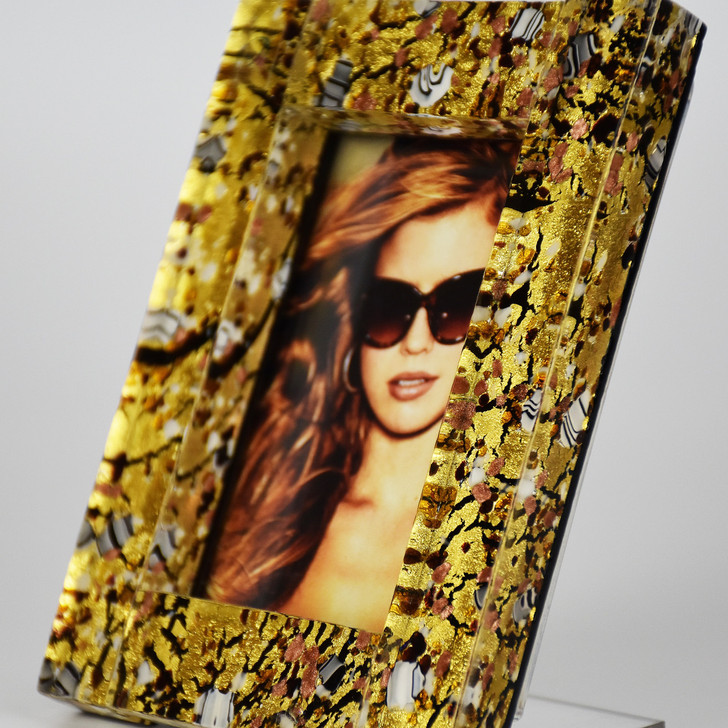 Murano Glass frame black and gold