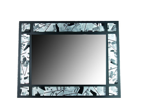 MURANO GLASS MIRROR WITH FRAME CONTAINING SILVER FOIL