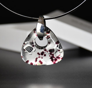OVAL PENDANT 4.5*4.5 CM, SILVER AND B/W MURRINE