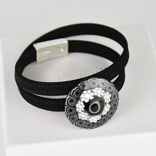 Murano glass  bracelet with black and white coloured murrine