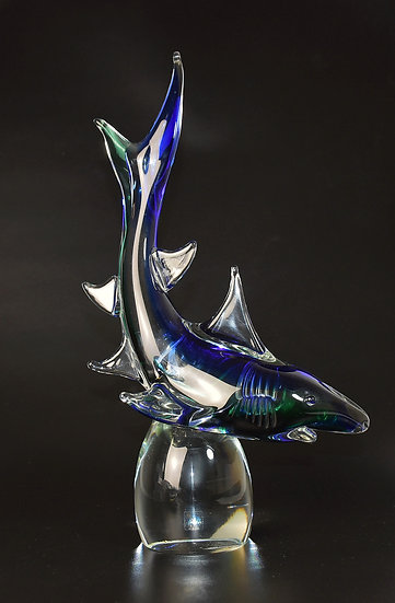 MURANO GLASS SHARK SCULPTURE
