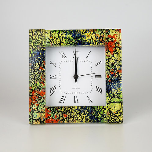 MURANO GLASS CLOCK WITH ALARM  gold and multi colours