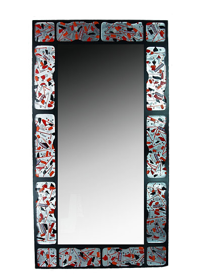 MURANO GLASS MIRROR RED AND SILVER FOIL 125X65 CM.