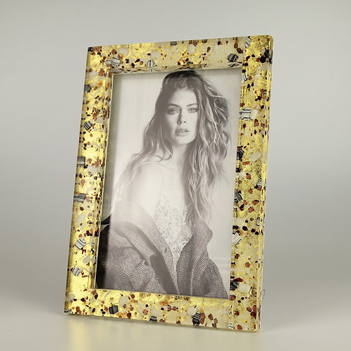 MURANO GLASS FRAME PORTRAIT , WHITE AN GOLD