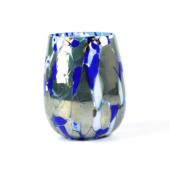 MURANO DRINKING GLASS, SILVER AND BLUE