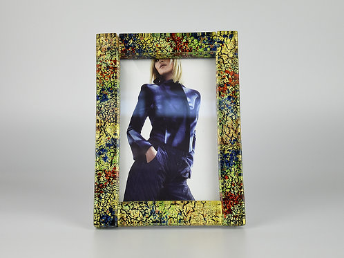 MURANO GLASS FRAME WITH GOLD AND MULTICOLOURED GLASS SANDS