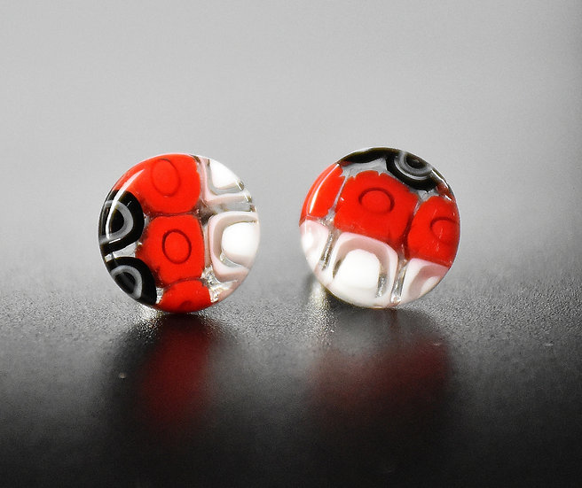 MURANO GLASS EARRINGS WITH  ROUND SHAPE,RED AND WHITE MURRINE, 12 mm